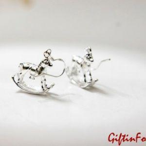 Rocking Horse Dangle Earrings, 100% Handmade 🌸